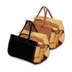 Pilgrim - Angersteins Suede Log Carrier - This handsome and useful log holder will come in handy during fireplace season. It will be useful whether you are using it to carry wood inside to your wood-burning fireplace or stove, or if you need it for an outdoor fireplace or firepit. Top grain suede holder has double-sewn seams and rivets for strength. We recommend that you store this log carrier inside when not in use.