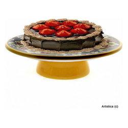 Artistica - Hand Made in Italy - Deruta Vario: Footed Cake/Cheese Platter - Deruta Vario