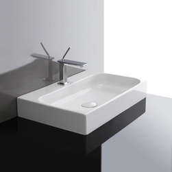 "WS Bath Collections - Unit 31.5"" x 16.5"" Ceramic Bathroom Sink - Unit by WS Bath Collections, Ceramic White Wall-Mounted or Countertop Bathroom Sinks, Available With or Without Faucet Hole, Made in Italy"