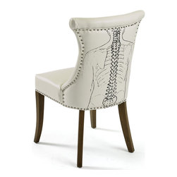 Backbone Chair - Make a comfortable seating in your home with this Country Chic Backbone chair. This chair is manufactured with quality leather stuffed in such a way to provide your back an ultimate comfort. This chair won't give you any back pains even it's best to reduce the back pains. This arm chair has given nailed finish at its back and base line in order to give it more sophisticated look. Add this functional yet stylish furniture piece to your decor. This arm chair looks simply elegant with its white shiny seat cover.