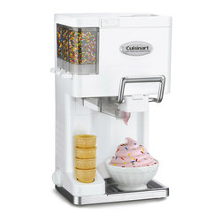 Cuisinart - Cuisinart ICE-45 Mix-it-in Soft Serve 1.5-quart Ice Cream Maker - Make professional-quality soft ice cream, yogurt, sorbet, and sherbet right at home with this Cuisinart fully automatic, soft-serve ice-cream maker. A unique pull handle sends ice cream swirling out like an authentic soft-serve machine.