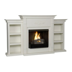"Holly & Martin - Holly & Martin Gel Fireplace w/ Bookcases-Ivory X-81-9-130-401-73 - If you are looking for an elegant accessory for your home, this is the piece for you. This beautiful and functional gel fuel fireplace features an ivory finish that looks great in any room that you place it in. A classic floral design is carved across the top of this fireplace, above the firebox. A bookcase on either side of the fireplace provides space and storage for all of your favorite readings, media and home d&#233:cor accessories. Requiring no electrician or contractor for installation allows instant remodeling without the usual mess or expense. In addition to your living room or bedroom, try placing this fireplace in your home office. Use this great functional fireplace to make your home a more welcoming environment. Please note: Our photos are as accurate as possible, but color discrepancies may occur between the product and your monitor. The handcrafted touch of artisan skill also creates variations in color, size and design: slight differences should be expected. - 70.25"" W x 14"" D x 42.25"" H - Bookshelves: 13.25"" W x 10.75"" D x 39.5"" H (each) - Six shelves: 12"" W x 7.5"" D x 8.5"" H (each) - Ivory finish - Provides storage and functionality, perfect for any room - Beautiful media room accent - Mantel supports up to 85 lb. - Accommodates a flat panel TV up to 68.25"" W overall (base up to 40"" W overall) - Constructed of poplar, MDF, and polyresin applique - Assembly required - None of the mess of a wood burning fireplace - FireGlo Gel Fuel snaps and crackles like real burning wood (fuel not included) - Emits no smoke, odor, or ash - Holds up to 3 cans of gel fuel simultaneously for a full bodied 6-8"" flame - Each can of FireGlo produces up to 3000 BTU - Supplements heat to save on energy consumption - Includes firebox, cement log, faux coal cinder, and screen kit"