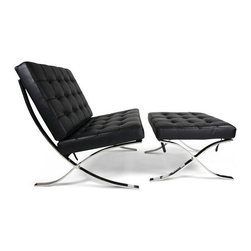 Ariel - Rohe Designer Barcelona Chair with Ottoman Top Grain Italian Leather - A chair that was originally designed for royalty, the Rohe Style Classic Designer Barcelona Chair features a seamless stainless steel frame paired with top grain genuine leather, suspended by fine leather belt straps. Combo set comes complete with Chair and matching Ottoman, fully assembled for your convenience. Available in white or black leather.