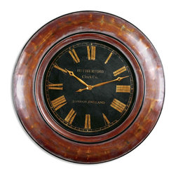 Uttermost - Tyrell Large Round Distressed Wood Clock 47x47 - A  beautiful  clock  to  clomplete  your  home  or  office  space.    Classic  design  and  distressed  finish  make  this  clock  a  great  addition.    The  classic  elegance  of  gold  numerals  set  against  a  black  background  make  it  a  rich  and  elegant  accent  piece.  Outer  rim  is  distressed  walnut  brown,  rubbed  to  expose  the  gold  undertones.  Black  face  with  glass  cover.  Quartz  movement.