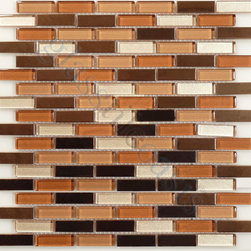"Euro Glass - Reflection Coffee Blend  Uniform Brick Bronze/Copper Copper Series Glossy Glass - Sheet size:  11 3/4"" x 11 3/4"".     Tile Size:  5/8"" x 2""     Tiles per sheet:  108     Tile thickness:  1/4""      Grout Joints:  1/8""     Sheet Mount:  Mesh Backed     Sold by the sheet      -"