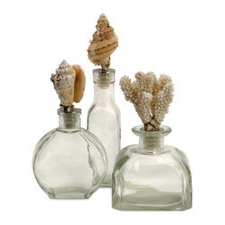 iMax - Shell Stopper Glass Bottles, Set of 3 - This set of three glass bottles will look great when filled with sand or bath salts. Add this set to your collection of sea inspired accents.