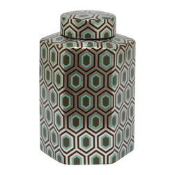 Silver Geometric Ceramic Jar with Lid - Our ceramic jar with a fashionable geometric design is the perfect container to stow away your little trinkets. Its almost to pretty to hand off as a gift.