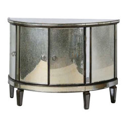 Uttermost Sainsbury Mirrored Console Cabinet - Vintage demilune shape, given a fresh face of curved mirrors around the antique bronze, solid birch frame.  Four cabinet doors are accented with chrome ring pulls. Vintage, demilune shape given a fresh face of curved mirrors around the antique bronze, solid birch frame. Four cabinet doors are accented with chrome ring pulls.