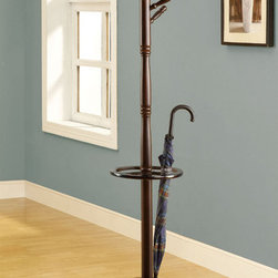 Monarch - Cappuccino Solid Wood Coat Rack with An Umbrella Holder - Leaving you free to pile on the coats, jackets and hats, this solid wood coat rack with umbrella stand holds everything in place. The original turned post with multiple hanging pegs, takes a creative spin on this functional coat rack and umbrella holder. A beautiful cappuccino finish, and a sturdy pedestal base brings plenty of stylish storage into your living space. Its simplicity makes it easy to organize your entryway, hallway or living room. This practical coat rack with umbrella holder is convenient and a necessity for all.