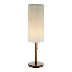 Adesso - Adesso Hamptons Table Lamp, Walnut - 3337-15 - Each Hamptons lamp has a walnut finished pole and flat round base with a tall double cylinder shade