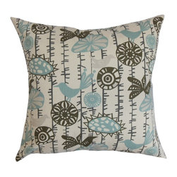 "The Pillow Collection - Nettle Floral Pillow Village Blue Natural 20"" x 20"" - Reinvent your decor style without spending too much money by simply adding this stylish throw pillow. This elegant decor pillow comes with a combination of patterns, including birds and flowers in shades of village blue and natural. You can place this plush accent pillow in your couch, sofa or bed to add extra comfort and style. This 20"" pillow is American-made and uses 100% soft cotton fabric. Hidden zipper closure for easy cover removal.  Knife edge finish on all four sides.  Reversible pillow with the same fabric on the back side.  Spot cleaning suggested."