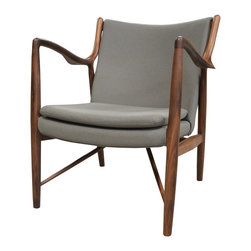 Finn Juhl Inspired 45 Chair Walnut Frame with Cashmere - Relax in modern luxury while infusing your home with nature-inspired style with the relaxed yet sophisticated Finn Juhl Style 45 Chair by Main Street Modern. This contemporary armchair is defined by its beautiful solid wood frame featuring sumptuous curves reminiscent of nature's fluidity and crisp, clean lines that reflect modern design. As functional as it is stylish, the wooden frame is quality-crafted to ensure long-lasting strength and stability. A padded seat topped with a plush cushion ensures superior comfort while a cushioned and curved backrest cradles your back for surpassing support.