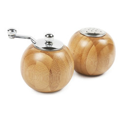 Frida & Diego Salt & Pepper Mill Set - Like Frida Kahlo and Diego Rivera, this salt shaker and pepper mill set are a match made in heaven. Their organic, globe shape and wood and metal material combination make them a versatile set for any table setting. Like all of Kahlo's and Rivera's work, this salt and pepper mill set are conversation starters.