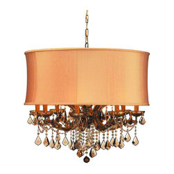 Crystorama Lighting Group - Crystorama Lighting Group 4489-SAW-CLM Brentwood 12 Light Crystal Drum Chandelie - This isn't your Grandmother's crystal....The Brentwood Collection offers a nice mix of traditional lighting designs with large tailored encompassing shades. Adding either the Harvest Gold or the Antique White shade to these elegant chandeliers opens the door to endless possibilities design opportunities.Features: