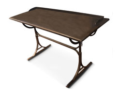Kathy Kuo Home - DeLorean Industrial Loft Iron Drafting Desk - Small - Perfectly proportioned for smaller areas, this antique reproduction drafting table marries form and function. Tilt the rectangular tabletop for the perfect angle on all your projects. The beautifully unique rust patina improves with age, just the ideas created on the table.
