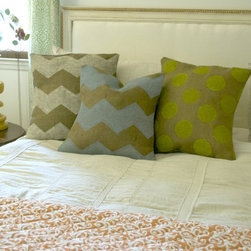Hand Painted Burlap Pillow Covers - Hand painted burlap pillow covers accent a bed. Burlap works in any decor style and room.