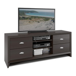 CorLiving - CorLiving Kansas Espresso Finish 59-inch TV Bench - The Kansas 59-inch TV bench is an elegant addition to any modern decor. Constructed of medium density fiberboard in an espresso finish,this piece features one nickel finish hardware,one door and two open shelves.