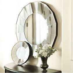 "Ballard Designs - Bellesol Mirror - A pretty take on the ""sunburst"" style. The small version is less than $40 and would look perfect centered over a headboard."