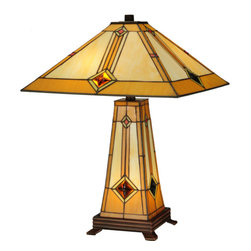 "Meyda - 23""H Diamond Mission Lighted Base Table Lamp - Simple clean lines and a geometric shape are thehallmark of this mission styled table lamp. The shadeis beige with honey trim, with green glass surroundingthe amber cast glass jewel and an orange diamond. Thelamp base is also crafted of stained glass andilluminates as a night light. Both the shade and baseare handcrafted using the same technique as the louiscomfort tiffany studio. The lamp includes a 3-wayswitch so the shade be illuminated, or the base can belit, or both can be illuminated together. Bulb type: med bulb quantity: 2 bulb wattage: 60"