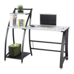 Safco - Xpressions Computer Workstation w Tempered Glass Laptop Desk - Powder coat frame. Tempered glass and steel. Assembly required. Optional keyboard tray . Keyboard tray: 23.5 in. W x 15.25 in. D x 1.75 in. H (6 lbs.). 53.25 in. W x 23.25 in. D x 45 in. H (58 lbs.)Take notes while you work. This computer workstation is perfect for taking down notes, phone numbers or other important messages. It's secret? A tempered glass surface and shelf! Simply use a dry erase marker to jot down important information. The workstation is great for offices, collaboration areas, employee lounges, kiosk areas for employees, print areas and home offices. It's time to leave a mark on every work day.