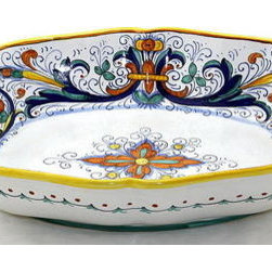 Artistica - Hand Made in Italy - RICCO DERUTA: Oblong Bowl SIM (LG) - RICCO DERUTA: This product is part of the renown Ricco Deruta Collection.