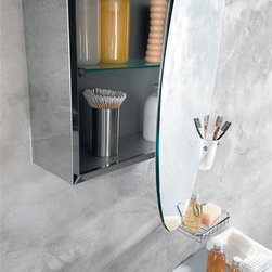 WS Bath Collections - Pika 23 in. Medicine Storage Cabinet w Round - Stainless Steel with Mirrored Door. Safety Glass Shelf. Surface Mount. Made in Italy. Product Material: Stainless Steel. Finish/Color: Silver. Dimensions: 23.2 in. W x 23.2 in. L x 23.2 in. H