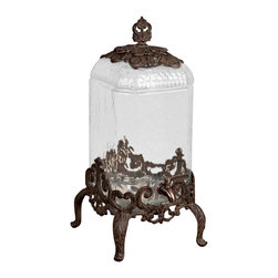 """21""""H Provencial Beverage Server - Beverage Server Glass Beverage Server with Brown Metal Base - 2 1/2 gallon ~ 9.5in x 9.5in x 21in H ~ Care: Hand wash glass and metal in mild soap and dry with a soft cloth"""