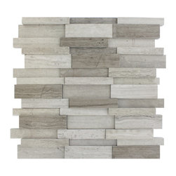 "Illusion 3D Brick Wooden Beige Tile - ILLUSION 3D BRICK WOODEN BEIGE MARBLE PATTERN MOSAIC TILE This distinctive pattern is made of various sized pieces of marble in wooden beige. The 3D brick pattern gives a unique and elegant design to your room. This modern and contemporary tile can be used as a feature wall, backsplash, fireplace, or kitchen. Chip Size: 5/8"" x 4, 3/4"" x 4"", 1 1/2"" x 4"" Color: Wooden Beige Material: Marble Mosaic Finish: Polished Sold by the Sheet - each sheet measures 12"" x 12"" (1 sq. ft.)"