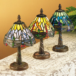 Meyda - 12 Inch Height Hanging head Dragonfly Mini Table Lamps - Color theme: 59 Orange Red