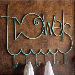 """Fish-Friendly Turquoise Metal Towel Rack - This turquoise metal towel rack features the word """"Towels"""" and a cute fish design. It may be quirky and eclectic, but it also includes six rounded metal hooks for plenty of hanging space."""