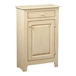 Chelsea Home Furniture - Chelsea Home Hannah Small Cabinet - This 36-inch high 24-inch wide Hannah Small Cabinet, shown in a light Buttermilk stain and constructed with Eastern White Pine, has 1 cabinet and 1 top drawer with matching wooden knobs. Modest in size, this solid and durable cabinet with one adjustable shelf is suitable for quick and easy storage in a foyer or child's bedroom.