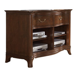 American Drew - American Drew Cherry Grove NG Entertainment Console in Mid Tone Brown - Entertainment Console in Mid Tone Brown belongs to Cherry Grove New Generation collection by American Drew Cherry Grove New Generation line promises the same timeless quality and appeal with a full line of dining room, bedroom, home office, entertainment and occasional furniture. The line incorporates many elegant curves and graceful movement, and is updated with today's finishes, functionality and style. The inviting mid tone brown finish makes the cherry veneers pop on each piece, along with custom designed hardware. This line takes advantage of vertical space with higher case heights, and maximizes the utility of small spaces with hinged drop leaves on servers and tables. In combination, the collection takes functionality to a lifestyle level and allows urban or scaled-down living spaces to become entertainment areas, making small rooms work like big rooms. The New Generation of Cherry Grove is about honoring tradition while staying on trend.