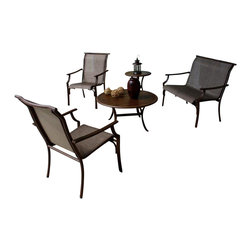 Hospitality Rattan - Chub Cay Patio Sling 5 PC Set Deep Seating Group in Dark Bronze Finish - Include: Loveseat - 2 Armchairs - Coffee Table - End Table. Made of Extruded Aluminum Frame will not rust. Finished in a powder coated Dark Bronze finish. Extruded Aluminum Frame w Twitchel fiber. Weather and UV resistant. Frame will not rust. Sturdy aluminum legs for extra support. Stackable Design. Sling Arm chair: 23 in. W x 32 in. D x 37 in. H. Loveseat: 46 in. W x 32 in. D x 37 in. H. End Table: 21 in. W x 21 in. L x 22 in. H (10 lbs.). Coffee Table: 36 in. W x 36 in. L x 19 in. H (15 lbs.)This traditional Chub Cay collection incorporates a tubular extruded aluminum frame resembling bamboo that will not rust. A custom made Twitchel Sling fiber is used in place of cushions on the seating pieces. The Chub Cay arm chairs are not only very durable, but are also stackable for easy storage. The dining table tops are tempered glass and will accommodate an umbrella. The collection also features a special aluminum slatted top on the coffee table, and the end table which work for both the Chub Cay collection and the Coco Palm Outdoor Group.