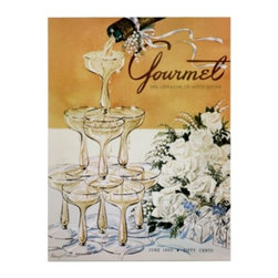 Z Gallerie - Gourmet June 1952 Champagne - Adorn your walls with stylish cover photos from Conde Nast's iconic Gourmet Magazine.  With vintage appeal our Gourmet Series pays tribute to the first upscale publication devoted to food and wine. Showcasing six of the magazine's mid-century covers our Gourmet Series brings history and style to your space. Stunning as stand-alone pieces of artwork, the series is doubly impressive when hung together as a collection.