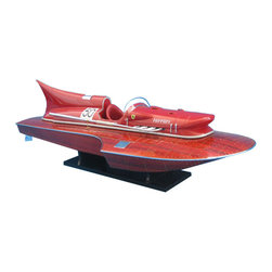 """Handcrafted Model Ships - Ferrari Hydroplane Limited 32"""" - Wooden Power Speed Boat - Sold fully assembled"""