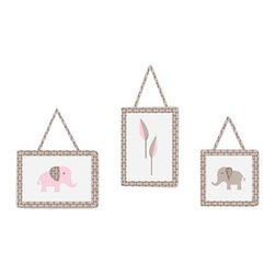 Sweet Jojo Designs - Pink Elephant 3-Piece Wall Decor by Sweet Jojo Designs - The Pink Elephant 3-Piece Wall Decor by Sweet Jojo Designs, along with the bedding accessories.