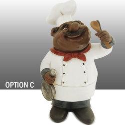 Black Chef Kitchen Statue Table Art Decor Option C - Beautiful Black Chef Statue Bistro Chef Table Art Decor.