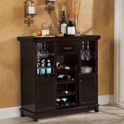 Hong Kong Sunhouse Ent. Co. - Tuscan Expandable Wine Bar - A definite must-have for wine aficionados, this impressive wine bar features 12 wine slots, a drawer, two shelves and cabinets, wine glass holders, removable bamboo cutting board and expandable top.