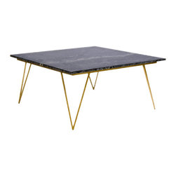 Worlds Away Neal Gold Leafed Coffee Table with Black Marble Top - Worlds Away Neal Gold Leafed Coffee Table with Black Marble Top