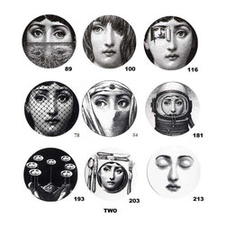 Theme And Variations Plates By Piero Fornasetti - With so many to pick from, it's impossible to choose a favorite of Fornasetti's iconic ladies. With that in mind, why not choose a few to decorate the wall, because I know that good design enjoys company.