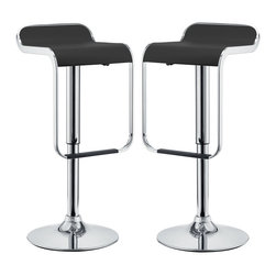 LexMod - Two LEM Piston Style Vinyl Bar Stools in Black - The LEM Style Bar Stool has sleek lines that would be equally impressive in a restaurant or at home. Perfect for entertaining guests at restaurants, your home bar, or for stylish seating around the kitchen counter.