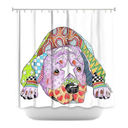 DiaNoche Designs - Shower Curtain Artistic - Rottweiller Dog - DiaNoche Designs works with artists from around the world to bring unique, artistic products to decorate all aspects of your home.  Our designer Shower Curtains will be the talk of every guest to visit your bathroom!  Our Shower Curtains have Sewn reinforced holes for curtain rings, Shower Curtain Rings Not Included.  Dye Sublimation printing adheres the ink to the material for long life and durability. Machine Wash upon arrival for maximum softness on cold and dry low.  Printed in USA.