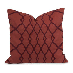 iMax - iMax IK Dyani Embroidered Pillow w/ Down Insert X-00224 - Featuring rich embroidered pattern over an indulgent red cotton cover, the Dyani pillow has a down fill insert and is designed by Iffat Khan.
