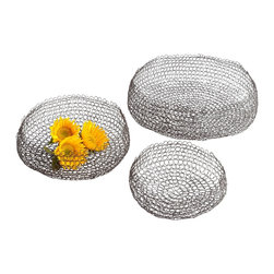Cyan Design - Cyan Design Columbus Decorative Weave Basket (Pack of 3) X-60260 - From the Columbus Collection, this set of three Cyan Design decorative weave baskets come in three sizes to allow them to be used together in nesting style, or separately as needed. The baskets are created with simple wrapped wire detailing and completed with a dark Graphite finish.