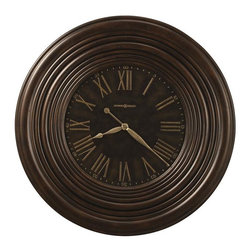 """HOWARD MILLER - Howard Miller Harrisburg 36"""" Wall Clock - This 36"""" diameter oversized gallery clock features a dramatic 8"""" wide profiled frame finished in Earth Brown with distressing."""