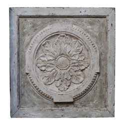 Kathy Kuo Home - Athenia Greek Distressed French Country Vintage Carved Wood Panel - Poetic symmetry abounds in this classic, square carved Greek panel. A raised circular flower design rises from the center, surrounded by Greek-inspired detailing and an antiqued white wooden frame. A subtly beautiful piece that will add a historic touch to your urban loft or country cottage wall. Try hanging it diagonally for added visual interest.