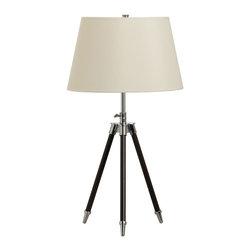 Dainolite - Dainolite 2151T-EB Tripod Table Lamp Ebony Brown Finish Cream Shade - Dainolite 2151T-EB Tripod Table Lamp Ebony Brown Finish Cream Shade
