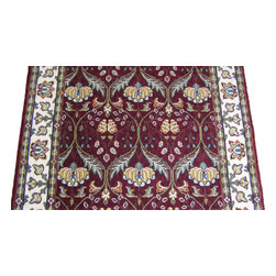 Momeni - Persian Garden 30 Inch Runner Traditional Stair Runner Burgundy - Stair & Hallway Runners Are Sold By The Linear Foot!