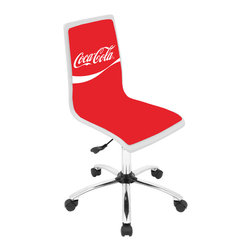 "Lumisource - Coca-Cola Printed Office Chair, White/Red - 23"" L x 23"" W x 34 - 38.5"" H"