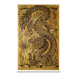 Oriental-Décor - Celestial Dragon - The dragon is a timeless icon of Asian art and culture. This remarkable Japanese print features the mythical celestial dragon, accompanied with flames and the characteristic fiery pearl near its mouth. This print from Japan can be framed and mounted or just displayed on a wall as it is. Bring the power of the Asian dragon to your home today.